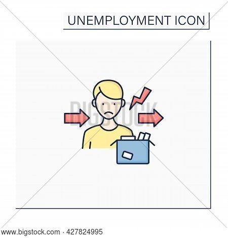 Fired Color Icon. Dismiss Worker From Job. Upset Man Lost Job. Staff Reduction.unemployment Concept.