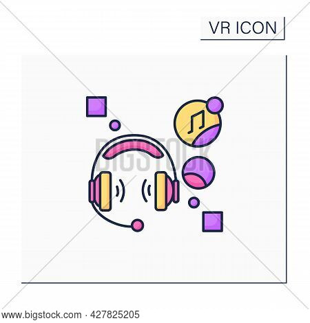 Headset Computer Color Icon. Headphone With Microphone Attached, Used Especially In Communication, L