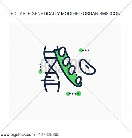 Soybean Line Icon. Changing Beans Dna Molecule. Gmo Soybean. Editing Gene. Microbiology. Genetically