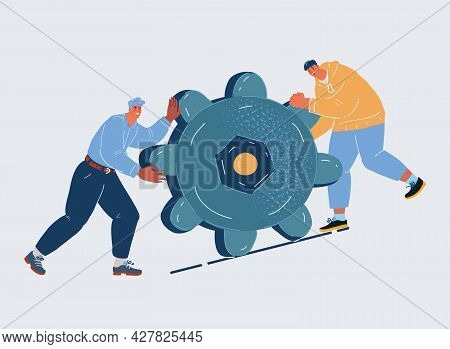 Vector Illustration Of People Push Gears Together. Two Man Work Together.
