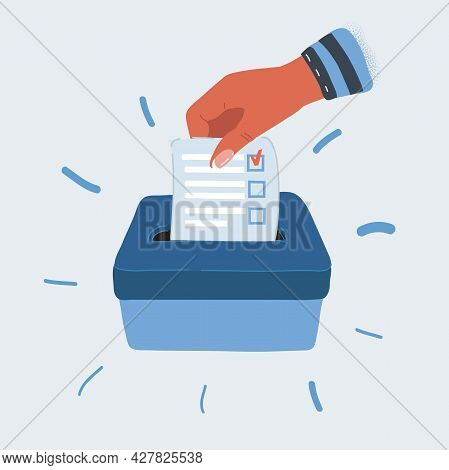 Vector Illustration Of Hand Putting A Voting Ballot In A Slot Of Box.