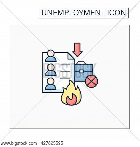 Fired Lists Color Icon. Applicants List For Dismission. Unproductive Workers. Fired Due To Budget Cu