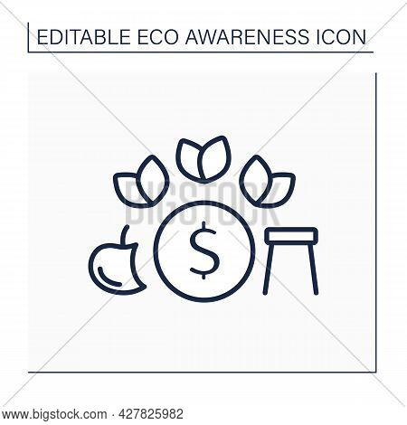Eco Friendly Lifestyle Line Icon.minimalistic Living Conditions. Less Using, Consumption Unnecessary