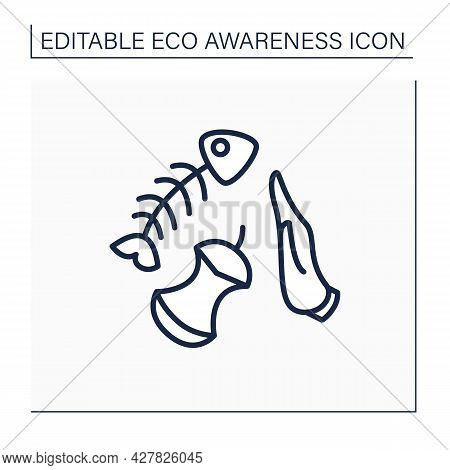 Waste Material Line Icon. Excess Food. Reducing Wasted Food. Eco Awareness Concept. Isolated Vector