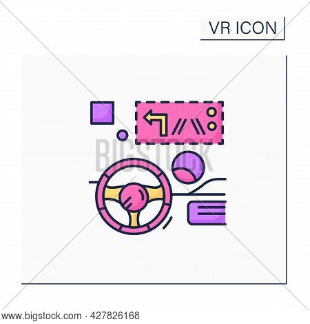 Head Up Display Color Icon. Transparent Display Presents Data Without Requiring Users To Look Away F