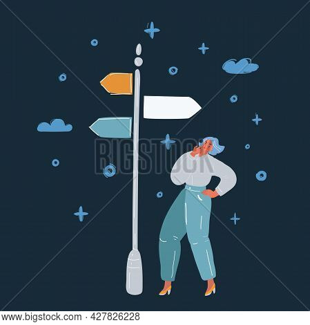 Vector Illustration Of A Woman Making A Choice On Crossroads Over Dark Backround.