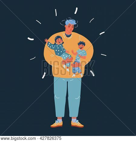 Vector Illustration Of Exhausted Father Holding Two Screaming Children Over Dark Backround.