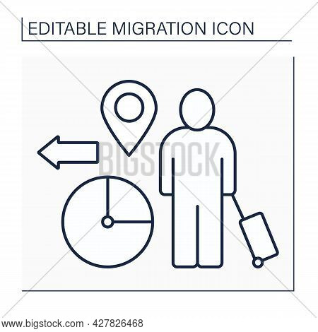 Temporary Migration Line Icon. Timely Relocation. Searching For Job. Earnings. Forced Movement Abroa