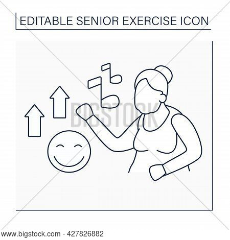 Dancing Line Icon. Low Impact Training. Relax Time. Pleasure Workout. Senior Exercise Concept. Isola