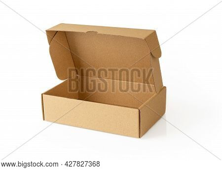 Open Brown Cardboard Box Isolated On A White Background. New Rectangular Paper Box For Packing Gifts