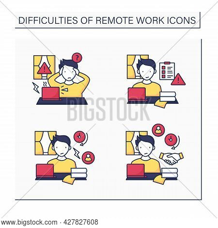 Remote Work Color Icons Set. Equipment Issues, Prioritizing Work.conflict Unaddressed Longer. Career