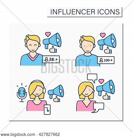 Influencer Color Icons Set. Micro And Macro Influencer, Podcaster, Social Posts Writer. Blogging Con