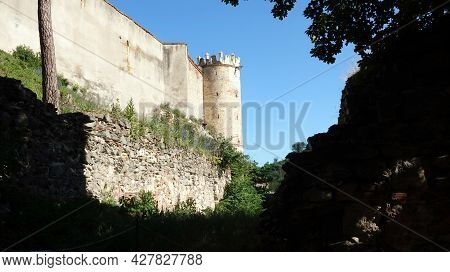 View Of The Walls With The Tower Of Boskovice Castle In The Czech Republic