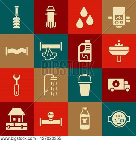 Set Water Meter, Plumber Service Car, Washbasin, Drop, Broken Pipe, Industry Metallic, Toilet Brush