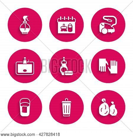 Set Dishwashing Liquid Bottle, Trash Can, Garbage Bag, Rubber Gloves, Bucket With Rag, Washbasin, Va