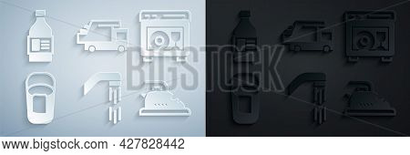 Set Shower Head, Dishwasher Machine, Bucket With Rag, Electric Iron, Garbage Truck And Bottle For Cl
