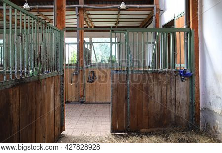 Inside Modern Clear Stable Or Barn With Horse Boxes. Passageway View In Natural Light In The End. Cl