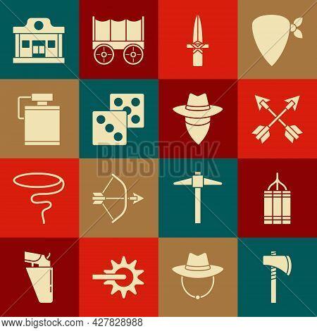 Set Tomahawk Axe, Dynamite Bomb, Crossed Arrows, Dagger, Game Dice, Canteen Water Bottle, Wild West