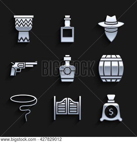 Set Tequila Bottle, Saloon Door, Money Bag, Gun Powder Barrel, Lasso, Revolver Gun, Cowboy And Drum