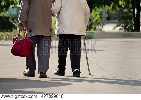 Elderly Man And Woman With Cane Walking Down The Street, Rear View. Old Couple Holding Hands Togethe