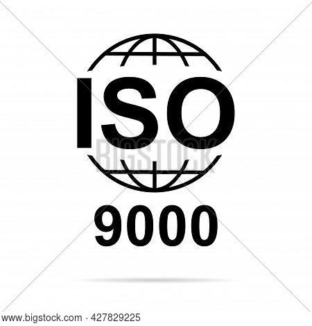 Iso 9000 Icon. Standard Quality Symbol. Vector Button Sign Isolated On White Background .