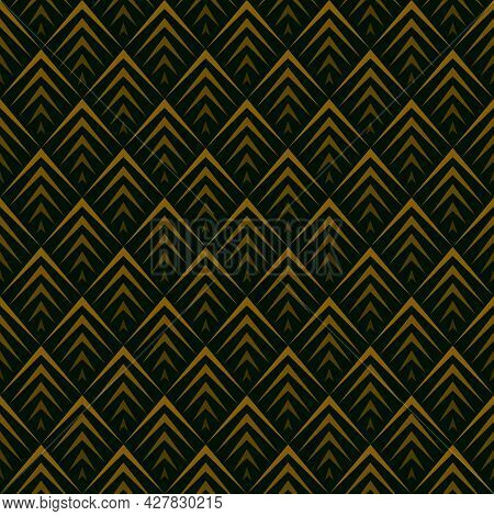 Gradient Diamond Shape Background Pattern. Seamless Geometric Shapes. Golden And Black. Texture Desi