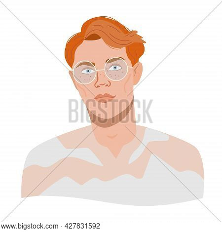 Portrait Of A Redhead Guy With Glasses. Vector Illustration Avatar Of Stylish Businessman Or Program