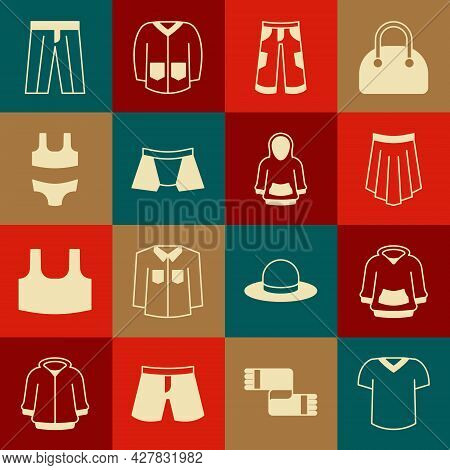 Set T-shirt, Hoodie, Skirt, Pants, Men Underpants, Swimsuit, And Icon. Vector