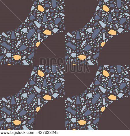 Terrazzo Texture Vector Seamless Pattern. Natural Color. Gray Geometric Shape Marble, Stone, Granite