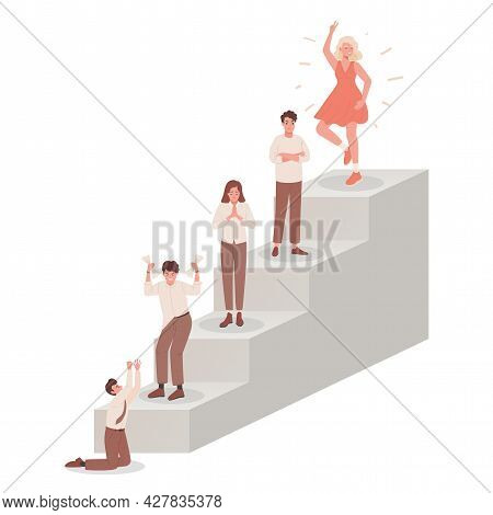 Ladder With People Feeling Different Emotions Vector Flat Illustration. Depressed And Upset Characte