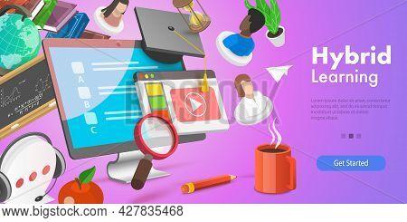 3d Vector Conceptual Illustration Of Hybrid Or Blended Learning, Online Education