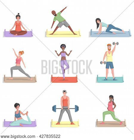 Set Of Different People Training, Doing Sports Activities Vector Flat Illustration. Smiling Men And
