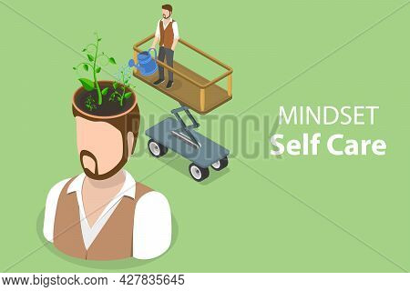 3d Isometric Flat Vector Conceptual Illustration Of Mindset Self Care, Personal Growth And Self-impr