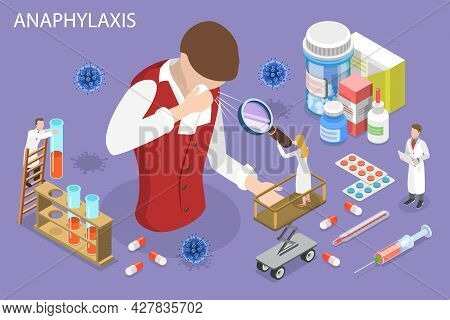 3d Isometric Flat Vector Conceptual Illustration Of Anaphylaxis, Allergic Reactions And First Aid