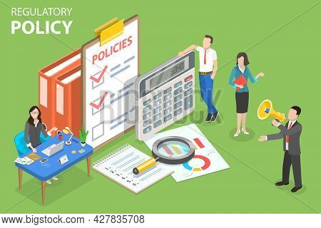 3d Isometric Flat Vector Conceptual Illustration Of Regulatory Policy, Legal Regulation And Procedur