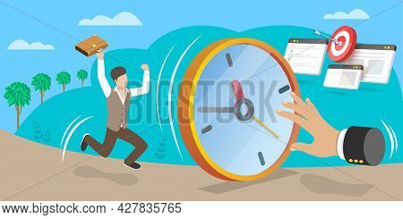 3d Isometric Flat Vector Conceptual Illustration Of Punctuality, Time Management