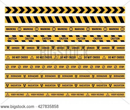 Set Of Prohibition And Warning Tapes Vector Flat Illustration. Danger, Stop, And Caution Ribbons Iso