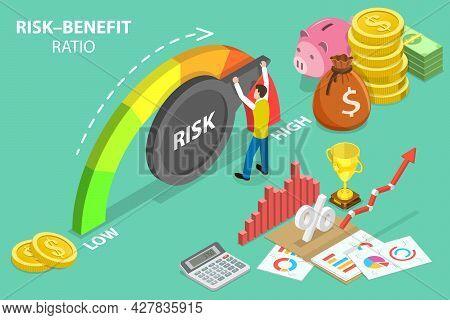3d Isometric Flat Vector Conceptual Illustration Of Risk-benefit Ratio, High Risk High Return Financ
