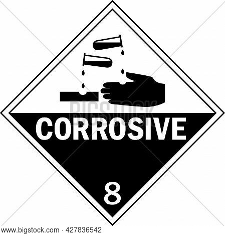 Corrosive Hazard Placards Class 8. Dangerous Goods Safety Signs And Symbols.