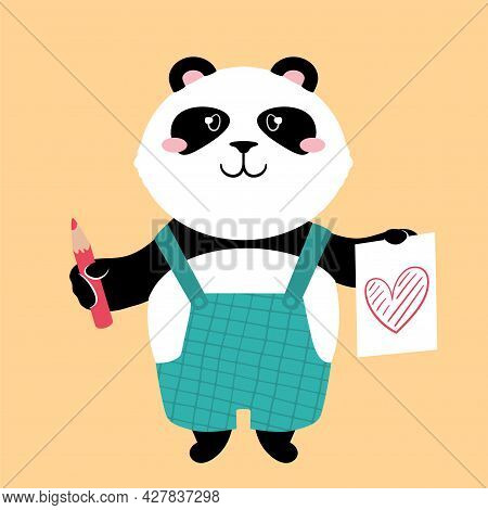 Vector Illustration Of A Cute Cartoon Panda Bear With Pencil And Sketch Of A Heart.