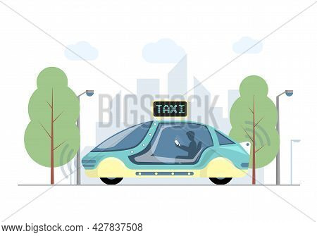 Future Express Taxi In City Vector Flat Illustration. Futuristic High Speed Automobile On Background