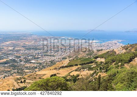 Panoramic Aerial View Of The Trapani City On Sicily, Italy