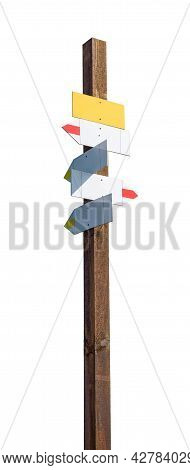 Blank Mountain Signpost Isolated On White Background With Clipping Path