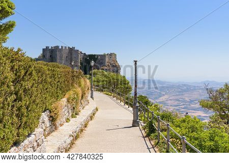 Road To The Ancient Venus Castle Ruins In Erice, Sicily, Italy