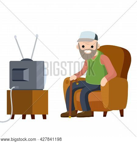 Old Senior Man Sitting In Armchair And Watching Retro Tv. Funny Grandfather. Lifestyle Of Grandpa. C