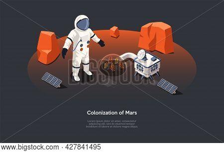 Vector Illustration In Cartoon 3d Style. Isometric Composition On Mars Colonization Concept. Dark Ba