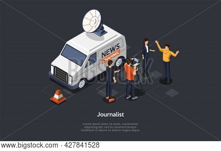 Vector Illustration In Cartoon 3d Style. Isometric Composition On Journalist Profession, Interview B