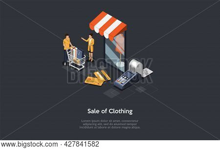 Composition On Dark Background With Infographics. Isometric Vector Illustration, Cartoon 3d Style Ob