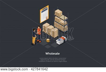 Wholesale Business Deal Concept. Businesspeople Shaking Hands, Contract Document, Cardboard Boxes On