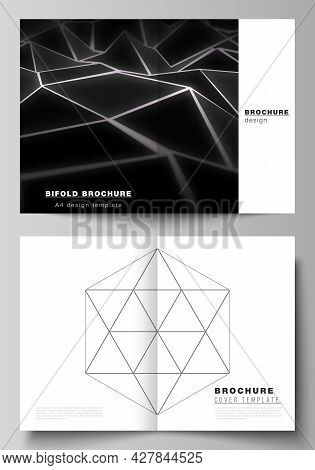 Vector Layout Of Two A4 Format Modern Cover Mockups Design Templates For Bifold Brochure, Flyer, Boo